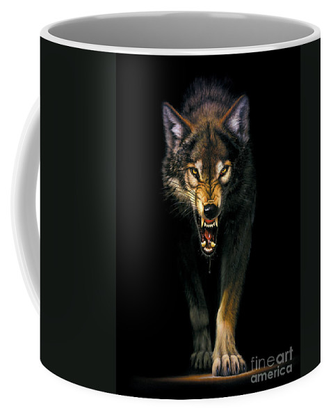 Animal Coffee Mug featuring the photograph Stalking Wolf by MGL Meiklejohn Graphics Licensing