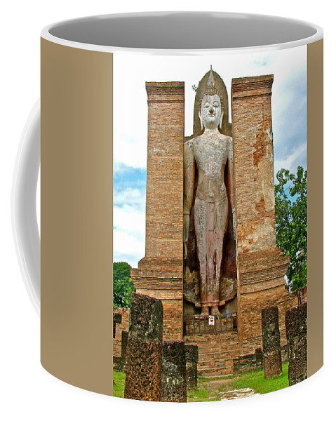 Standing Buddha At Wat Mahathat In 13th Century Sukhothai Historical Park Coffee Mug featuring the photograph Standing Buddha At Wat Mahathat In 13th Century Sukhothai Historical Park-thailand by Ruth Hager
