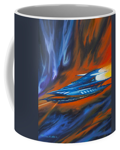 Jameshillgallery.com Coffee Mug featuring the painting Star Cruiser by James Christopher Hill
