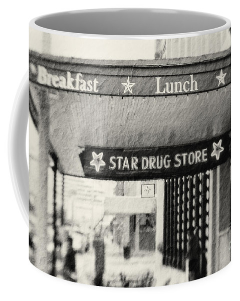 Black&white Coffee Mug featuring the photograph Star Drug Store Marquee by Scott Pellegrin