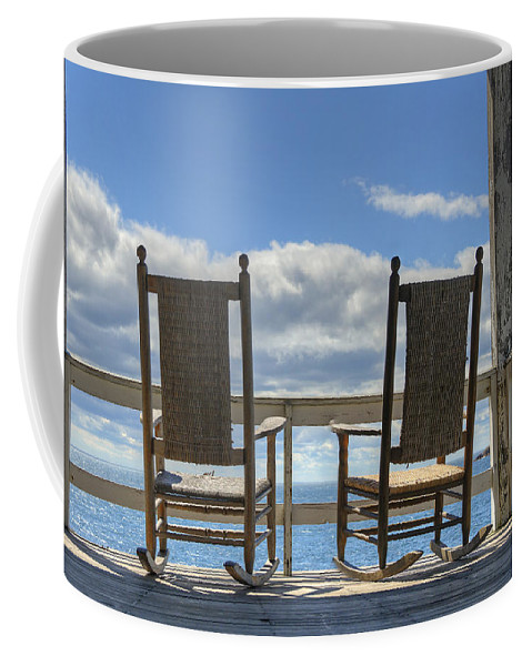 Star Island Coffee Mug featuring the photograph Star Island Rocking Chairs by Donna Doherty