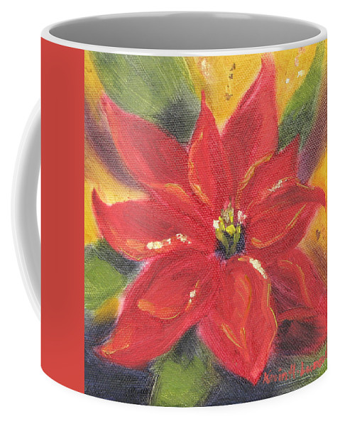 Pointsetta Coffee Mug featuring the painting Star Of Hope by Karin Leonard