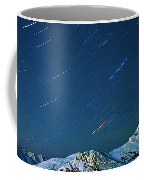 Star Coffee Mug featuring the photograph Star Trails Over The Chugach Mountains by Ronnie Glover