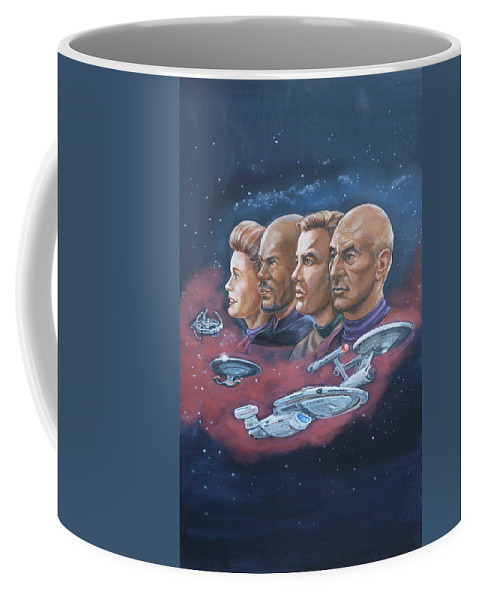 Star Trek Coffee Mug featuring the painting Star Trek Tribute Captains by Bryan Bustard