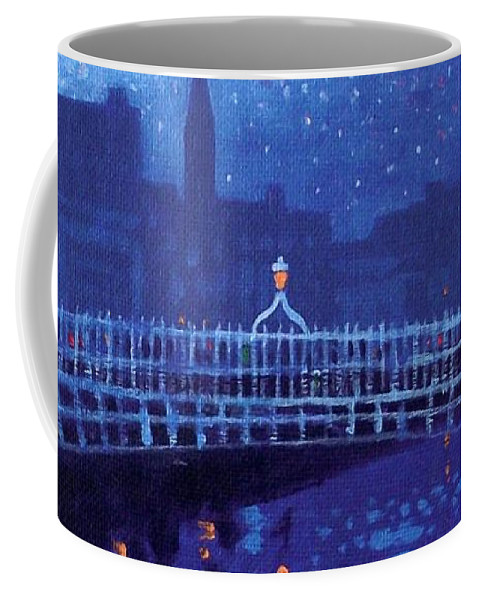 Acrylic Coffee Mug featuring the painting Starry Night In Dublin by John Nolan