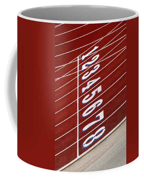 Track Coffee Mug featuring the photograph Track Starting Line by Phil Cardamone