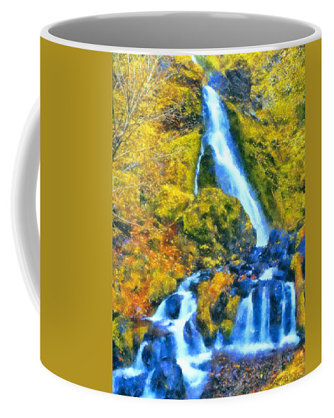 Starvation Creek Coffee Mug featuring the digital art Starvation Creek Falls by Kaylee Mason