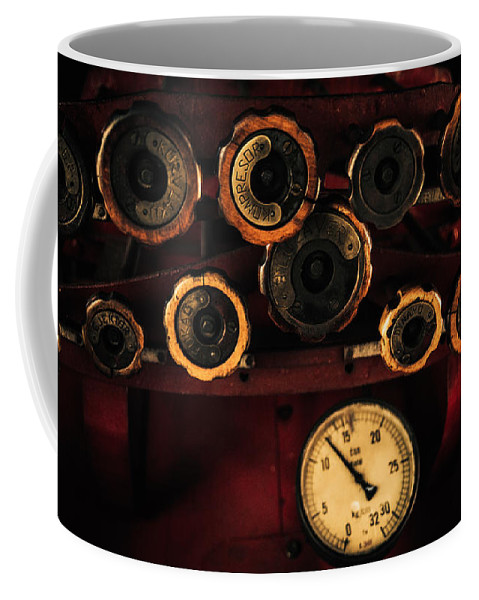 Steam Engine Coffee Mug featuring the photograph Rare Steam Locomotive Engine Cab Knobs And Controls by A K Art