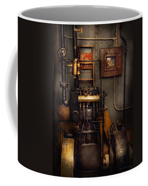 Hdr Coffee Mug featuring the photograph Steampunk - Back In The Engine Room by Mike Savad