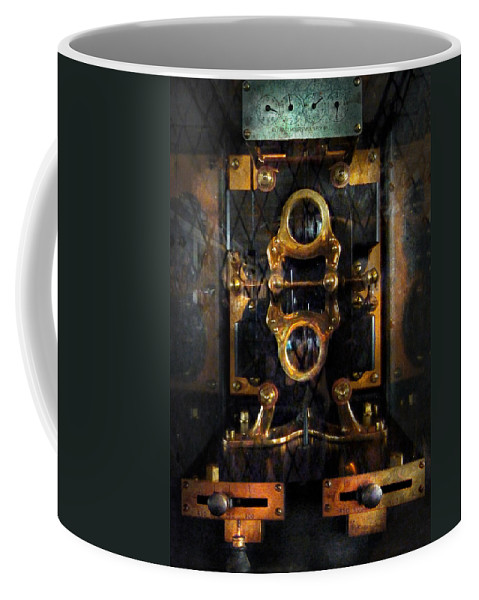 Hdr Coffee Mug featuring the photograph Steampunk - Electrical - The Power Meter by Mike Savad