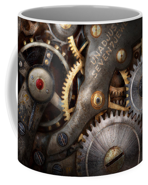 Steampunk Coffee Mug featuring the photograph Steampunk - Gears - Horology by Mike Savad
