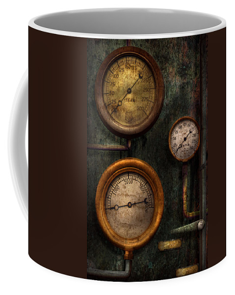 Steampunk Coffee Mug featuring the photograph Steampunk - Plumbing - Gauging Success by Mike Savad