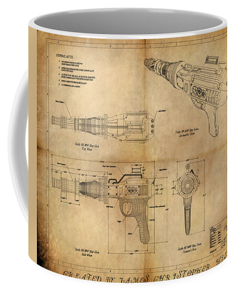 Steampunk; Gears; Housing; Cogs; Machinery; Lathe; Columns; Brass; Copper; Gold; Ratio; Rotation; Elegant; Forge; Industry; Plasma Coffee Mug featuring the painting Steampunk Raygun by James Christopher Hill