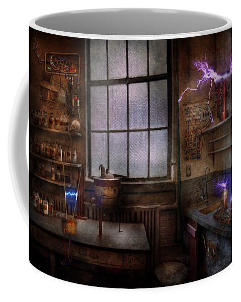 Hdr Coffee Mug featuring the photograph Steampunk - The Mad Scientist by Mike Savad