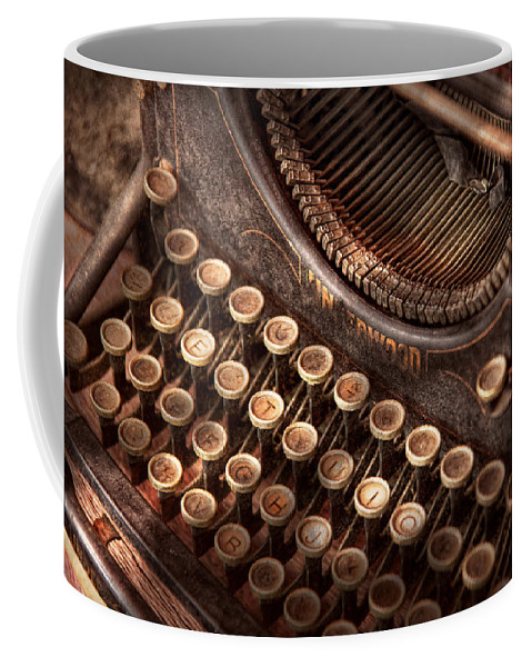 Steampunk Coffee Mug featuring the photograph Steampunk - Typewriter - Too Tuckered To Type by Mike Savad