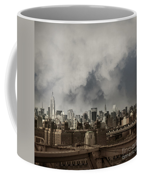 Brooklyn Bridge Coffee Mug featuring the photograph Steel City by Istvan Kadar