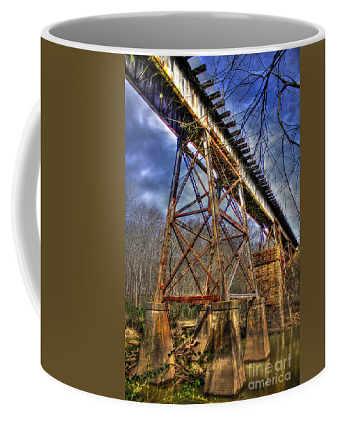 Reid Callaway Railroad Coffee Mug featuring the photograph Steel Strong Rr Bridge Over The Yellow River by Reid Callaway