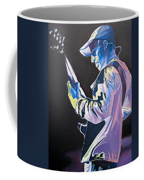 Stefan Lessard Coffee Mug featuring the drawing Stefan Lessard Colorful Full Band Series by Joshua Morton