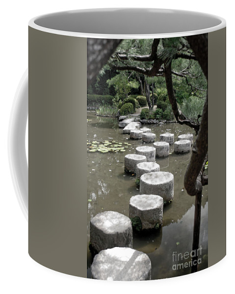 Kyoto Coffee Mug featuring the photograph Stepping Stone Kyoto Japan by Thomas Marchessault