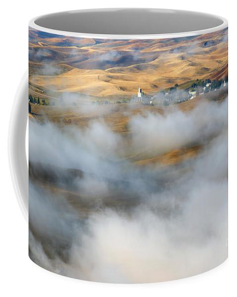 Palouse Coffee Mug featuring the photograph Steptoe Fog Clearing by Mike Dawson