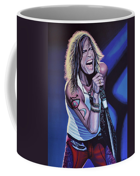 Steven Tyler Coffee Mug featuring the painting Steven Tyler 3 by Paul Meijering