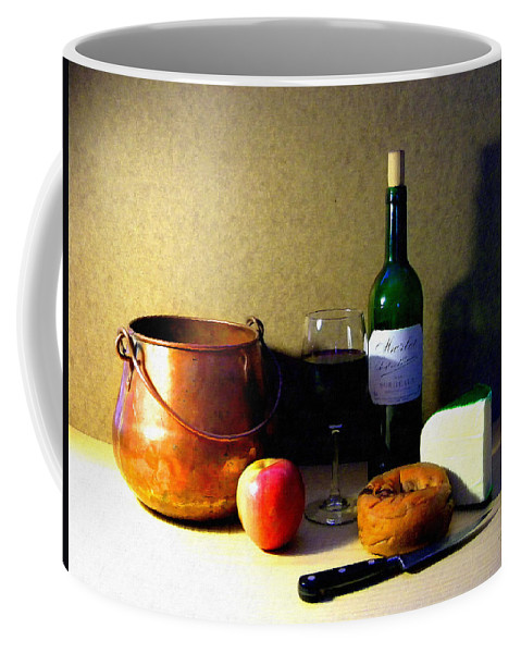 Still Life Coffee Mug featuring the photograph Still Life Merlot And Copper Pot by Frank Wilson