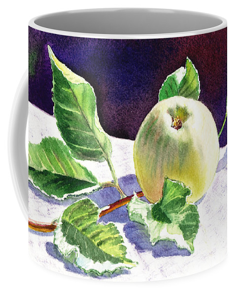 Apple Coffee Mug featuring the painting Still Life With Apple by Irina Sztukowski