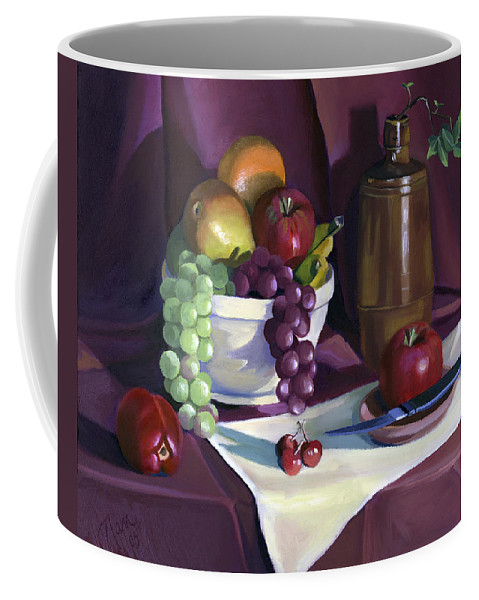 Fine Art Coffee Mug featuring the painting Still Life With Apples by Nancy Griswold