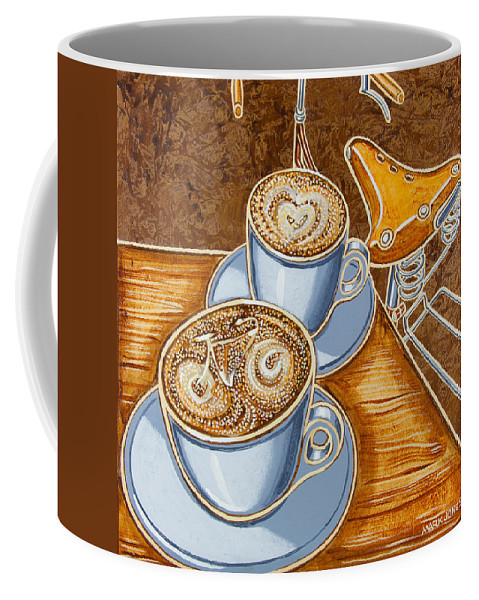 Still Life Coffee Mug featuring the painting Still Life With Bicycle by Mark Jones