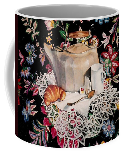 Stillife Coffee Mug featuring the pastel Still Life With Lace by Constance Drescher