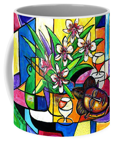 Everett Spruill Coffee Mug featuring the painting Still LIfe with Orchids and African Mask by Everett Spruill
