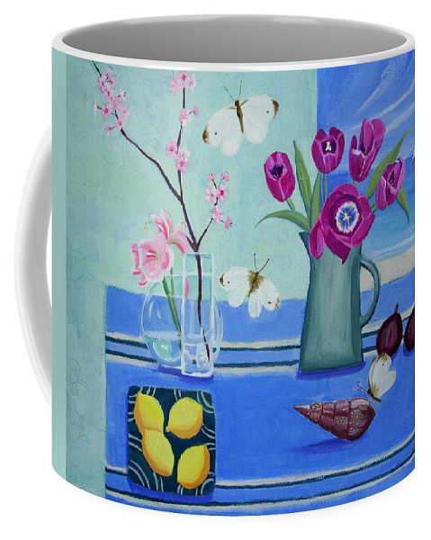 Blossom Coffee Mug featuring the painting Still Life With Sea View Sold by Mary Stubberfield