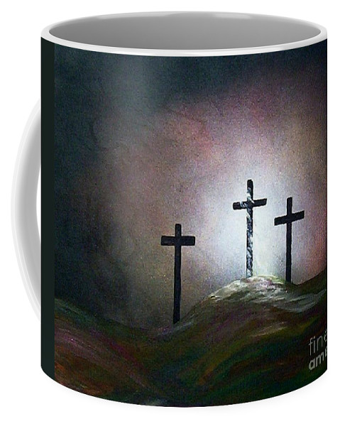 Jesus Coffee Mug featuring the painting Still The Light by Eloise Schneider