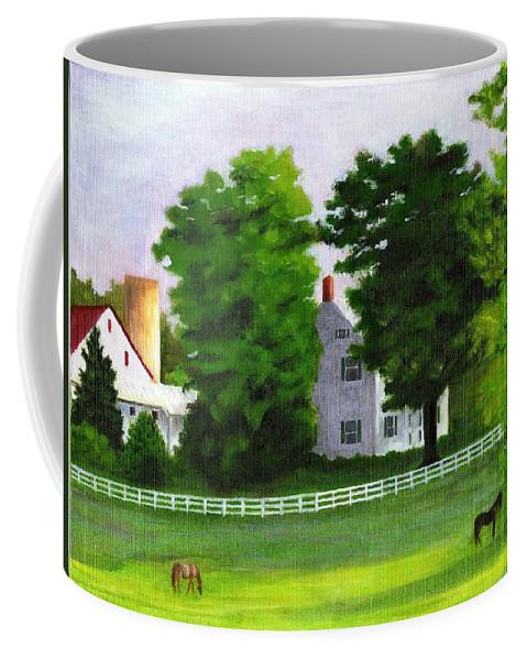 Landscape Coffee Mug featuring the painting Stillpoint Farm by Deborah Butts