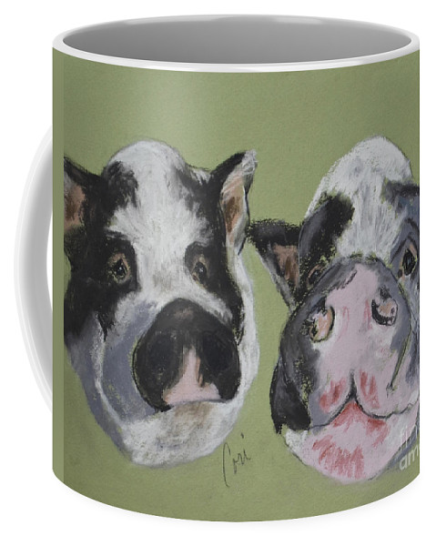 Pot Bellied Pigs Coffee Mug featuring the drawing Stirring The Pot by Cori Solomon