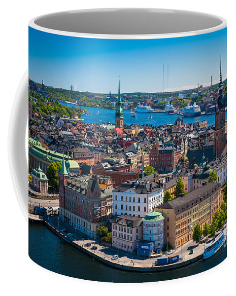 Architectural Coffee Mug featuring the photograph Stockholm From Above by Inge Johnsson