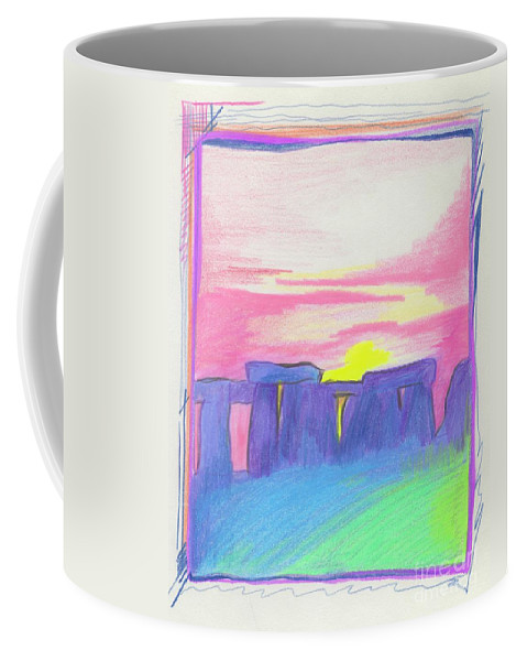 Stonehenge Coffee Mug featuring the drawing Stonehenge by First Star Art