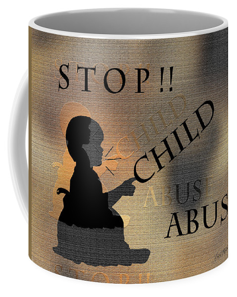 Ericamaxines Coffee Mug featuring the digital art Stop Child Abuse by Ericamaxine Price