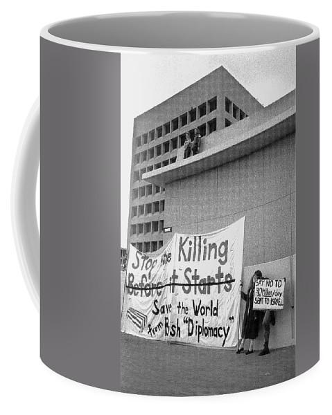 Stop The Killing Say No To Israel Anti-war Protestors Tucson Arizona 1991 Coffee Mug featuring the photograph Stop The Killing Say No To Israel Anti-war Protestors Tucson Arizona 1991 by David Lee Guss