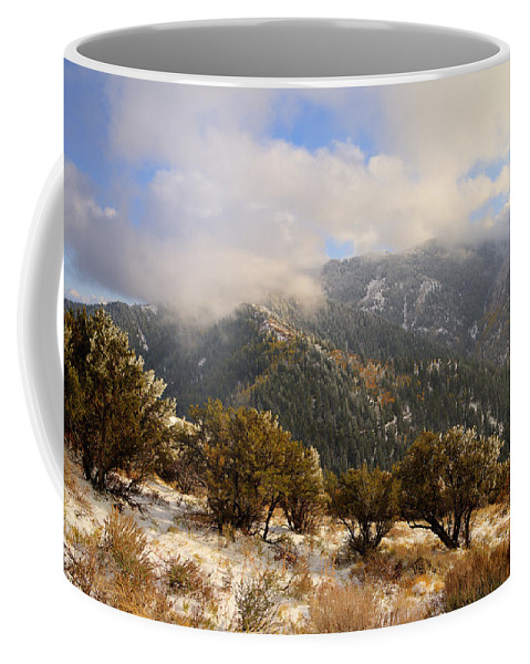Storm Atop Oquirrhs Coffee Mug featuring the photograph Storm Atop Oquirrhs by Chad Dutson