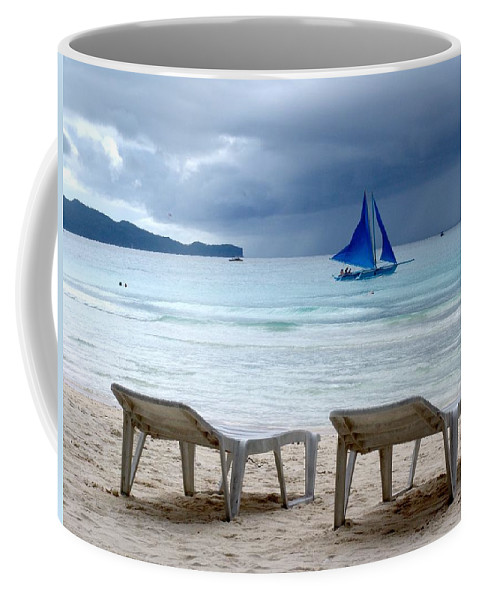 Beach Coffee Mug featuring the photograph Stormy Beach - Boracay, Philippines by Ian Mcadie