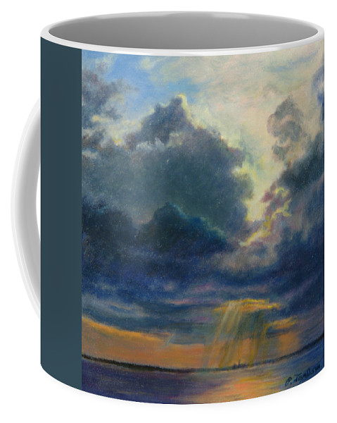 Landscape Coffee Mug featuring the painting Storm Clouds Over P-town by Phyllis Tarlow