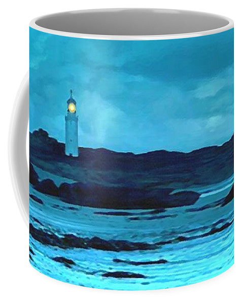Lighthouse Coffee Mug featuring the painting Storm's Brewing by Sophia Schmierer