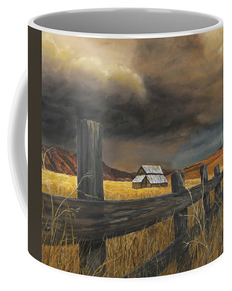 Nature Coffee Mug featuring the painting Stormy Clouds by Johanna Lerwick