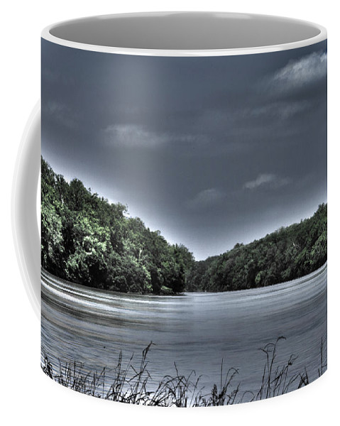 Algonkian Park Coffee Mug featuring the photograph Stormy Day On The Potomac River by Deb Breton