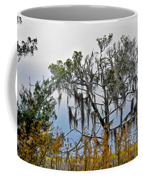 Stormy Afternoon Over Georgia Marshland Coffee Mug featuring the photograph Stormy Marsh Cedar Tree by Ginger Wakem