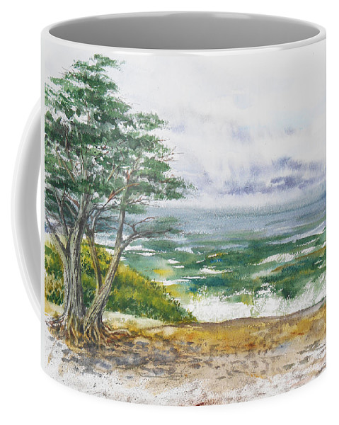 Seascape Coffee Mug featuring the painting Stormy Morning At Carmel By The Sea California by Irina Sztukowski