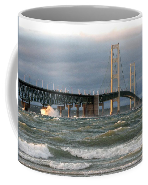 Storm Coffee Mug featuring the photograph Stormy Straits of Mackinac by Keith Stokes