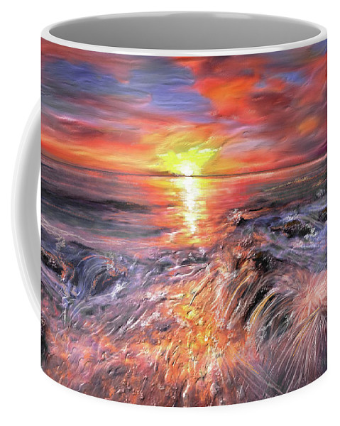 Sunset Coffee Mug featuring the painting Stormy Sunset At Water's Edge by Angela Stanton