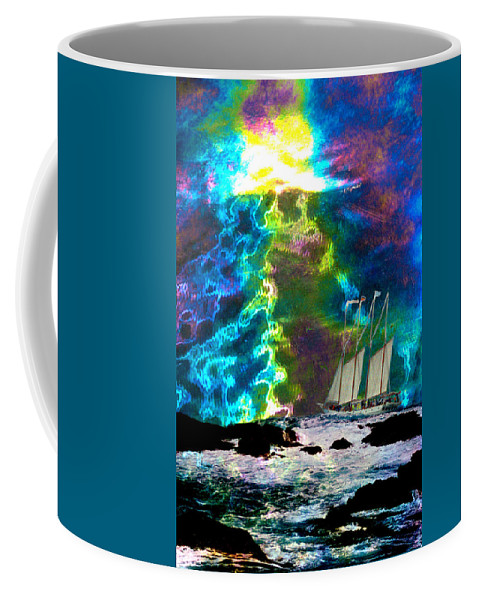 Storm Coffee Mug featuring the digital art Stormy Sunset by Lisa Yount